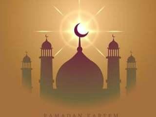 优雅的清真寺设计与发光的明星eid穆巴拉克节日
