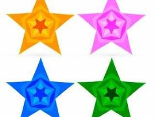 多彩的抽象星星设置矢量设计