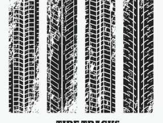 一套四个又脏又臭的车轮轮胎轨道