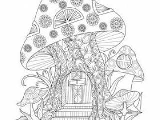 手绘插画的蘑菇房子在zentangle风格