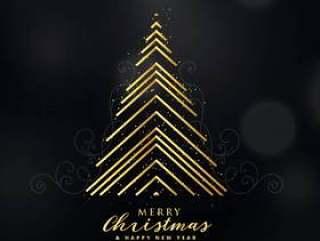 用线条背景做的优质金色圣诞树设计