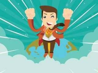 超级英雄飞行帮助人传染媒介例证