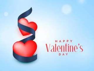 两个红色的心,与蓝丝带情人节' s天背景