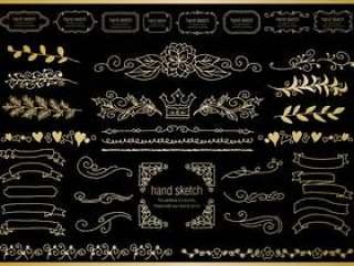 手绘材料035框架设置黄金