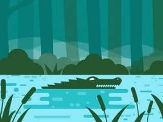 与鳄鱼传染媒介的河豚