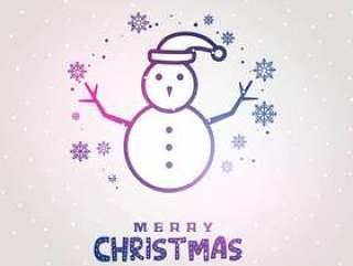 用线条与雪花背景雪人设计