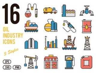 16石油工业矢量图标设置为移动,web,演示文稿和打印项目,16石油行业图标