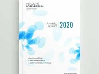 年度报告小册子模板设计与抽象的蓝色形状