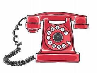 红色古色古香的轮循拨号电话手绘矢量
