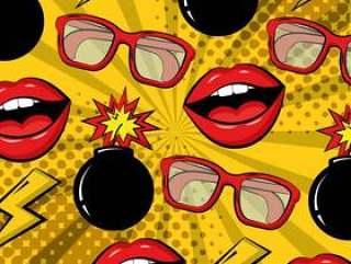 波普艺术漫画炸弹眼镜嘴唇背景