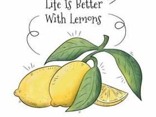 柠檬果与励志报价背景