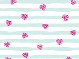 与桃红色闪烁五彩纸屑心脏的无缝的样式在镶边背景。