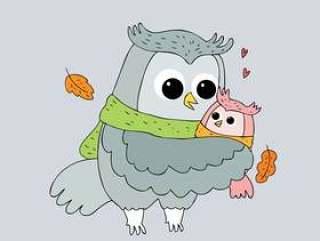 卡通可爱秋天猫头鹰拥抱矢量。