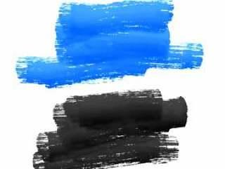 蓝色和黑色的油漆中风染色