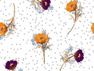 吹草甸的圆点花无缝的样式传染媒介