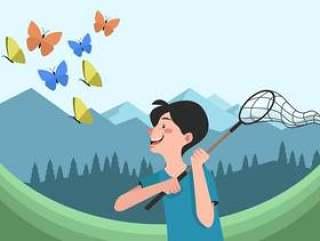 人捉住与净传染媒介例证的蝴蝶