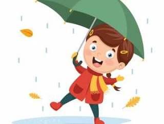 使用在雨下的女孩的传染媒介例证