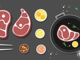 烹饪小牛肉 矢量