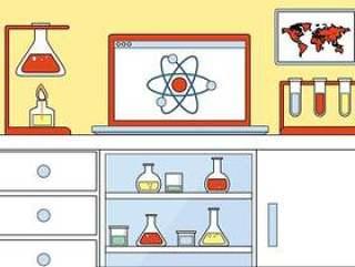 的平面设计矢量化学元素和图标