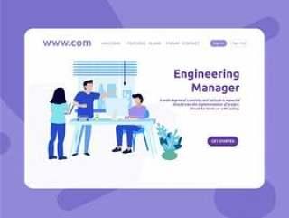 登陆页面设计工程经理网页模板矢量素材下载