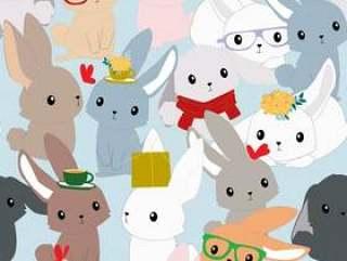逗人喜爱的甜桃红色和蓝色兔子兔宝宝无缝的样式