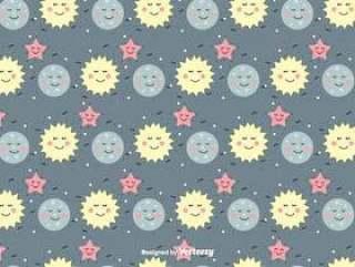 太阳,月亮和星矢量模式