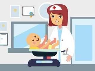 年轻的女医生儿科医生的概念图。