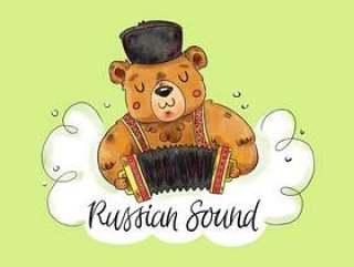 可爱的俄罗斯熊玩口琴与绿色背景