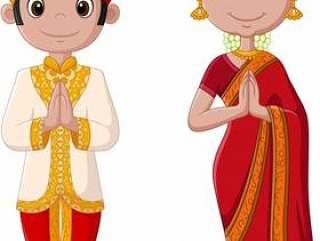 卡通印度情侣穿着传统服饰