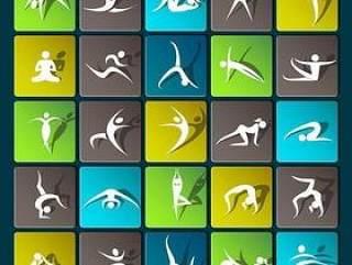 瑜伽运动图标