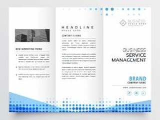 干净的三栏式小册子设计与抽象的蓝色效果