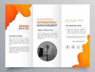 橙色水彩三折业务传单宣传册传单模板