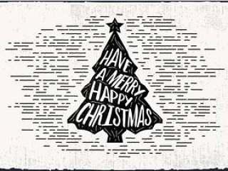 手绘圣诞树矢量贺卡