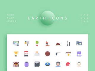 1000个平面图标设置在40个类别。,地球图标