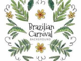 与叶子和花的可爱热带背景到巴西狂欢节