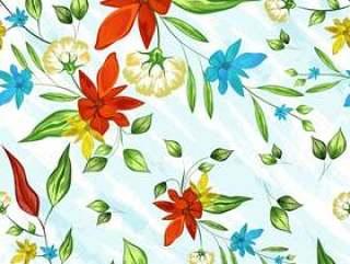 七彩花朵装饰无缝图案背景。