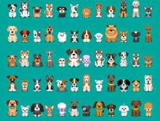 不同类型的矢量卡通狗