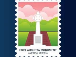 奥古斯塔堡纪念碑乔治亚州美国邮票