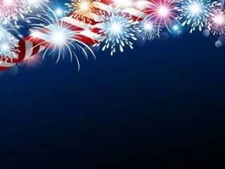 美国7月4日美国国旗与烟花的独立日