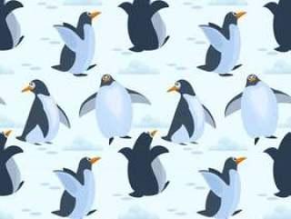 在冰无缝的样式背景的逗人喜爱的企鹅。
