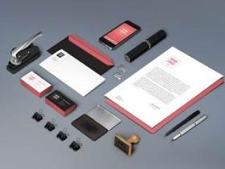 VI贴图模板(信封+信纸+名片+手机画面)
