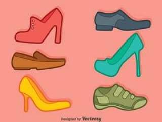 男人和女人的鞋子集合矢量