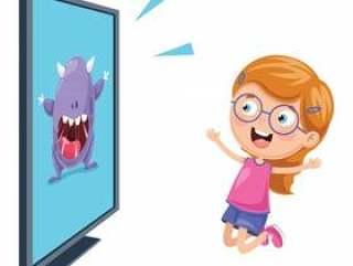 观看电视的孩子的例证