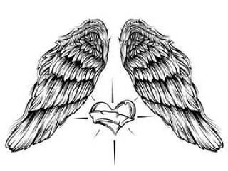 天使的翅膀与心向量