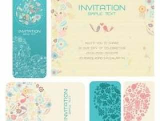 套花卉婚礼卡片
