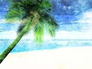 在海滩上的水彩棕榈树