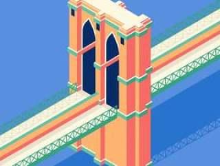 布鲁克林大桥等轴测图
