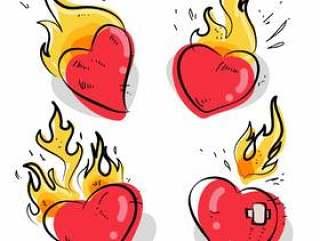 火焰状心纹身手绘制的矢量图