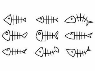 鱼骨线图标 矢量