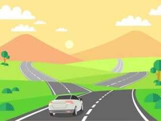 驾驶在高速公路 矢量